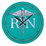 Registered Nurse RN Silver Caduceus on Turquoise Large Clock