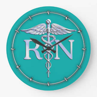 Registered Nurse RN Silver Caduceus on Turquoise Large Clock