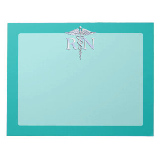 Registered Nurse RN Silver Caduceus on Turquoise Notepad