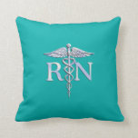 Registered Nurse RN Silver Caduceus on Turquoise Pillow