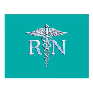 Registered Nurse RN Silver Caduceus on Turquoise Postcard