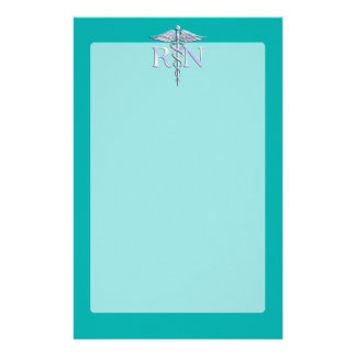 Registered Nurse RN Silver Caduceus on Turquoise Stationery