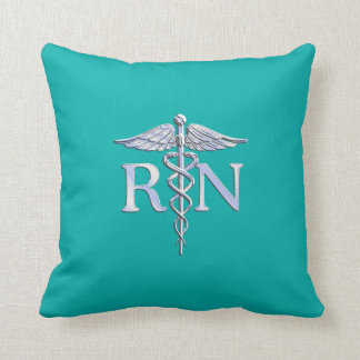 Registered Nurse RN Silver Caduceus on Turquoise Throw Pillow