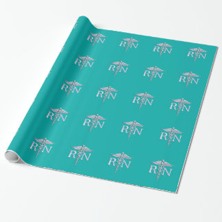 Registered Nurse RN Silver Caduceus on Turquoise Wrapping Paper