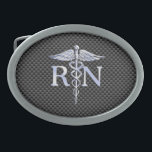 "Registered Nurse RN Silver Caduceus Snakes Belt Buckle<br><div class=""desc"">The Symbolic Chrome Like Registered Nurse RN Caduceus Medical Symbol design presented here on a printed black carbon fiber background. The caduceus snakes is designed to look like it is made of chrome. Good for a graduation occasion, a statement for your profession, or for a gift with that medical look...</div>"