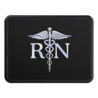 Registered Nurse RN Silver Caduceus Snakes Black Hitch Covers