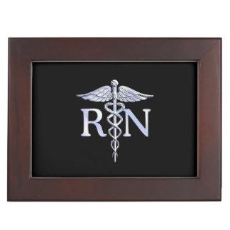 Registered Nurse RN Silver Caduceus Snakes Black Memory Box