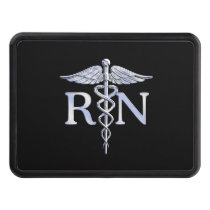 Registered Nurse RN Silver Caduceus Snakes Black Tow Hitch Cover
