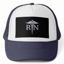 Registered Nurse RN Silver Caduceus Snakes Black Trucker Hat