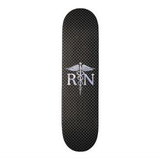 Registered Nurse RN Silver Caduceus Snakes Skateboard Deck