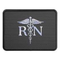 Registered Nurse RN Silver Caduceus Snakes Tow Hitch Cover