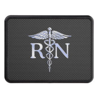 Registered Nurse RN Silver Caduceus Snakes Trailer Hitch Cover