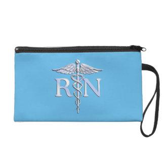 Registered Nurse RN Silver Like Caduceus Baby Blue Wristlet