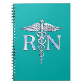 Registered Nurse RN Stylish Caduceus on Turquoise Notebook