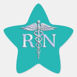 Registered Nurse RN Stylish Caduceus on Turquoise Star Sticker