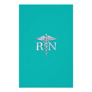 Registered Nurse RN Stylish Caduceus on Turquoise Stationery