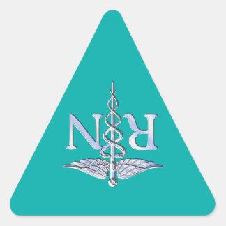 Registered Nurse RN Stylish Caduceus on Turquoise Triangle Sticker