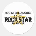 Registered Nurse Rock Star by Night Round Stickers