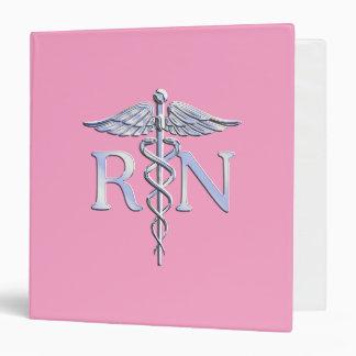Registered Nurse Silver Caduceus Light Pink Decor Binder