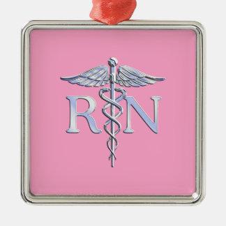 Registered Nurse Silver Caduceus Light Pink Decor Metal Ornament