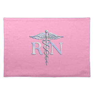 Registered Nurse Silver Caduceus Light Pink Decor Placemat