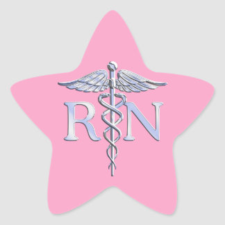 Registered Nurse Silver Caduceus Light Pink Decor Star Sticker
