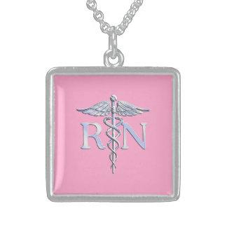Registered Nurse Silver Caduceus Light Pink Decor Sterling Silver Necklace