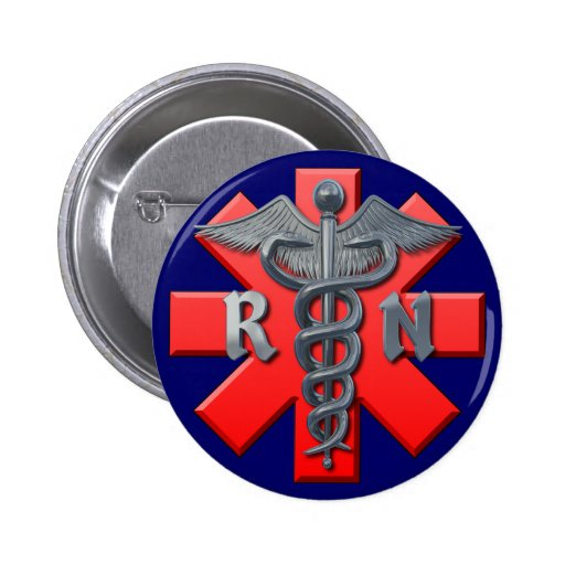 Registered Nurse Symbol Pinback Button