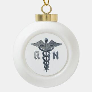 Registered Nurse Symbol Ceramic Ball Christmas Ornament
