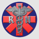 Registered Nurse Symbol Classic Round Sticker