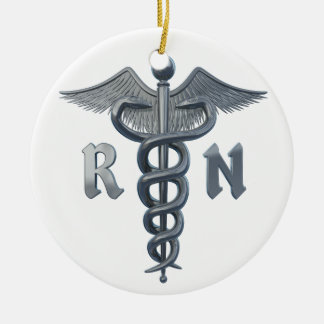 Registered Nurse Symbol Double-Sided Ceramic Round Christmas Ornament