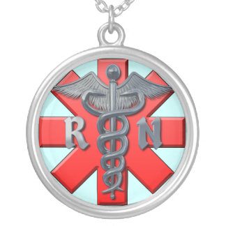 Registered Nurse Symbol Round Pendant Necklace