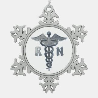 Registered Nurse Symbol Snowflake Pewter Christmas Ornament