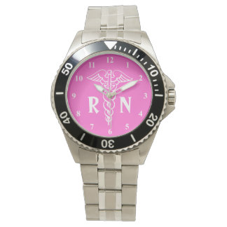 Registered nurse watch   caduceus with RN monogram