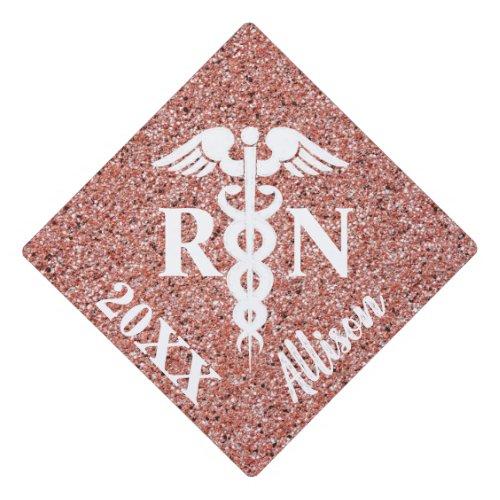 Registered Nurse White Caduceus Rose Gold Glitter Graduation Cap Topper