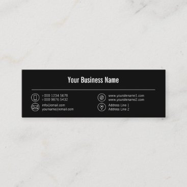 Registered Nurse White Lines Icons Black Mini Business Card