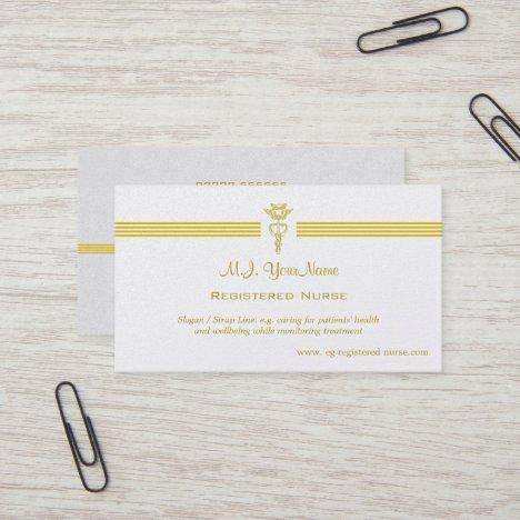 Registered Nurse with golden caduceus logo Business Card