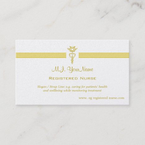 Registered Nurse with golden caduceus logo Business Card
