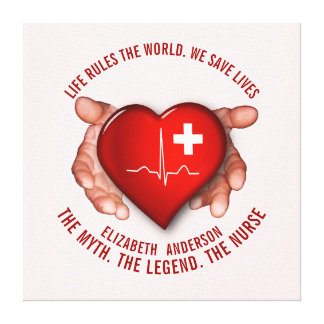 Registered Nurse With Red Heart In Hands Canvas Print
