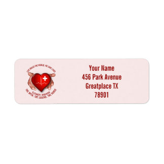 Registered Nurse With Red Heart In Hands Label