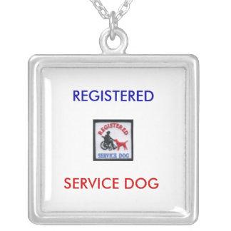 REGISTERED SERVICE DOG SQUARE PENDANT NECKLACE