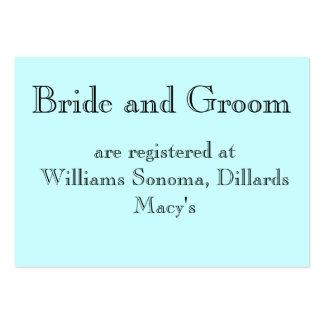 Registran a la novia y al novio, en… tarjetas de visita grandes