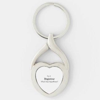 Registrar Silver-Colored Heart-Shaped Metal Keychain