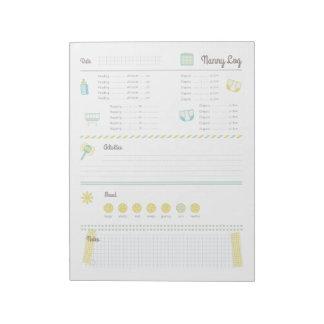 Registro de la niñera blocs de notas