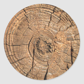 Registro de madera pegatina redonda