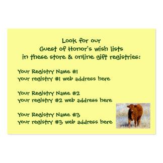 Registro de regalos rojo joven de la ducha de la tarjetas de visita grandes