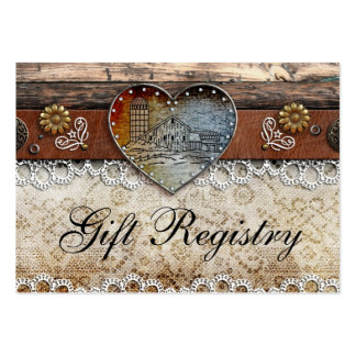 Registro de regalos rústico del boda del país del tarjetas de visita grandes