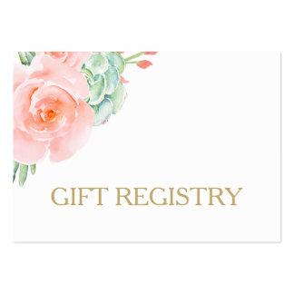registro de regalos suculento de los rosas del tarjetas de visita grandes