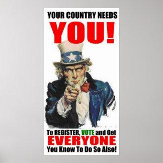 Registro del tío Sam para votar el poster