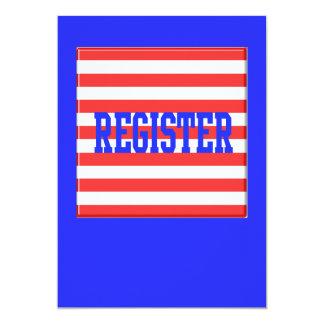 Registro en rayas azules, rojas y blancas comunicado